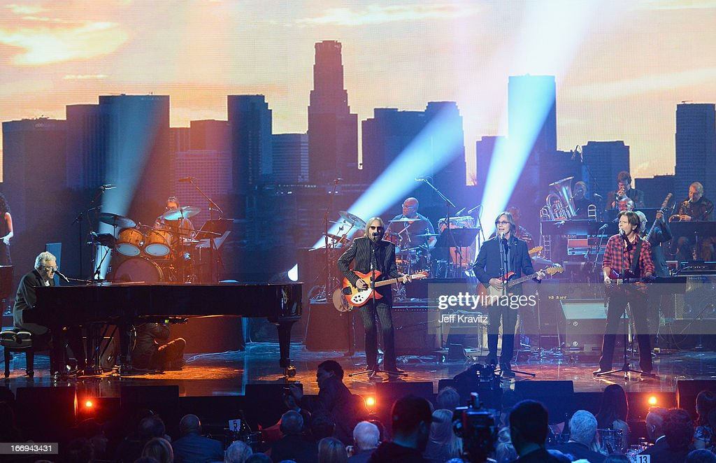 Inductee Randy Newman and musicians Tom Petty, Jackson Browne, and John Fogerty perform at the 28th Annual Rock and Roll Hall of Fame Induction Ceremony at Nokia Theatre L.A. Live on April 18, 2013 in Los Angeles, California.