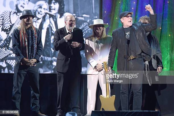 Inductee Rick Nielsen of Cheap Trick speaks onstage at the 31st Annual Rock And Roll Hall Of Fame Induction Ceremony at Barclays Center of Brooklyn...
