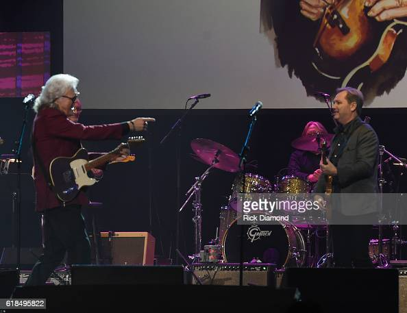 Inductee Ricky Skaggs and Steve Wariner perform during the Musicians Hall Of Fame 2016 Induction Ceremony Show at Nashville Municipal Auditorium on...