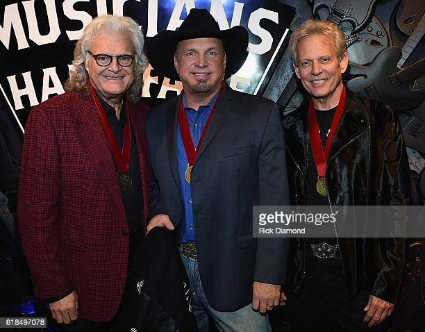 Inductee Ricky Skaggs Garth Brooks and Inductee Don Felder attend the Musicians Hall Of Fame 2016 Induction Ceremony Show at Nashville Municipal...