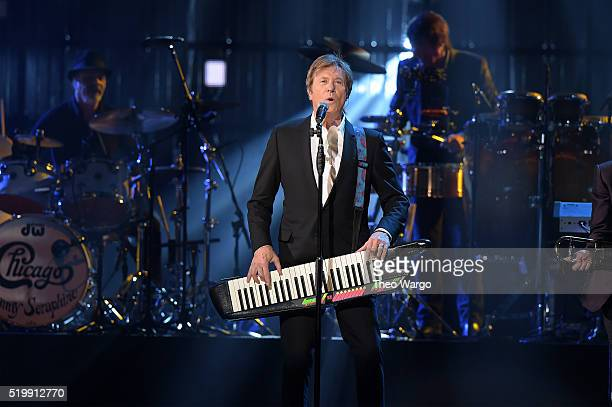 Inductee Robert Lamm of Chicago performs onstage at the 31st Annual Rock And Roll Hall Of Fame Induction Ceremony at Barclays Center of Brooklyn on...