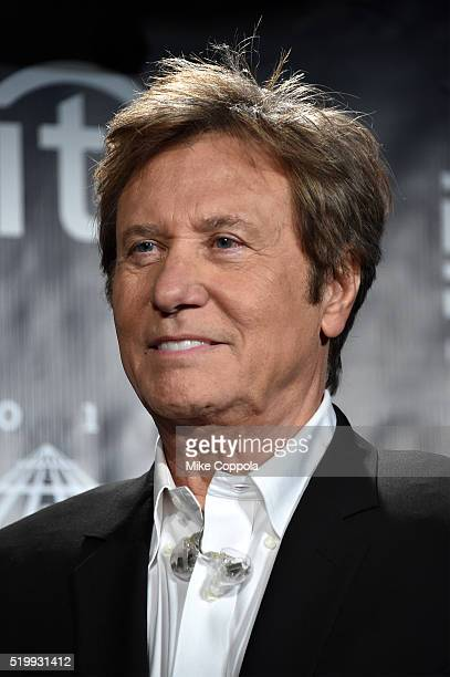 Inductee Robert Lamm of Chicago poses on stage in the press room at the 31st Annual Rock And Roll Hall Of Fame Induction Ceremony at Barclays Center...