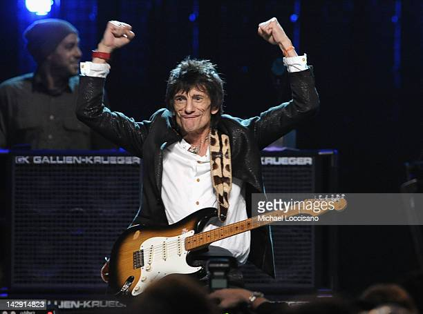 Inductee Ron Wood of Faces performs on stage during the 27th Annual Rock And Roll Hall Of Fame Induction Ceremony at Public Hall on April 14 2012 in...