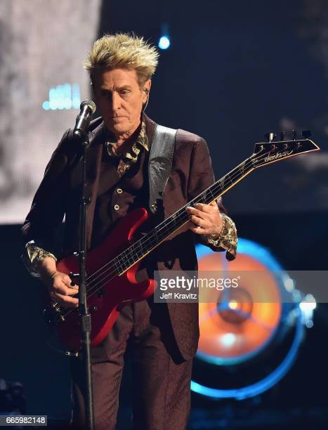 Inductee Ross Valory of Journey performs onstage at the 32nd Annual Rock Roll Hall Of Fame Induction Ceremony at Barclays Center on April 7 2017 in...