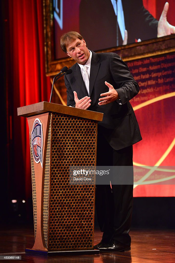 Inductee Sarunas Marciulionis speaks during the 2014 Basketball Hall of Fame Enshrinement Ceremony on August 8, 2014 at the Mass Mutual Center in Springfield, Massachusetts.