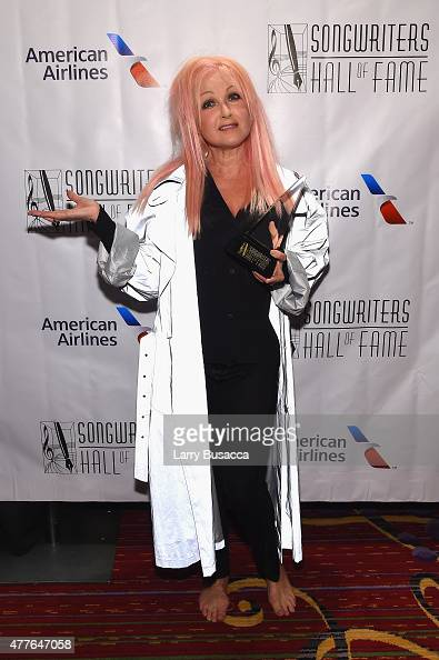 Inductee Singersongwriter Cyndi Lauper poses backstage at the Songwriters Hall Of Fame 46th Annual Induction And Awards at Marriott Marquis Hotel on...