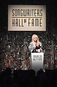 Inductee Singersongwriter Cyndi Lauper speaks onstage at the Songwriters Hall Of Fame 46th Annual Induction And Awards at Marriott Marquis Hotel on...