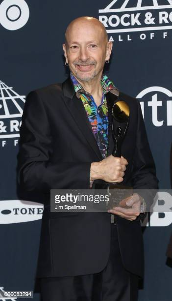 Inductee Steve Smith of Journey attends the Press Room of the 32nd Annual Rock Roll Hall Of Fame Induction Ceremony at Barclays Center on April 7...