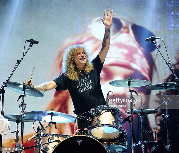 Inductee Steven Adler of Guns N' Roses performs on stage at the 27th Annual Rock And Roll Hall Of Fame Induction Ceremony at Public Hall on April 14...