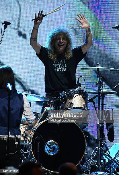 Inductee Steven Adler of Guns N' Roses performs on stage during the 27th Annual Rock And Roll Hall Of Fame Induction Ceremony at Public Hall on April...