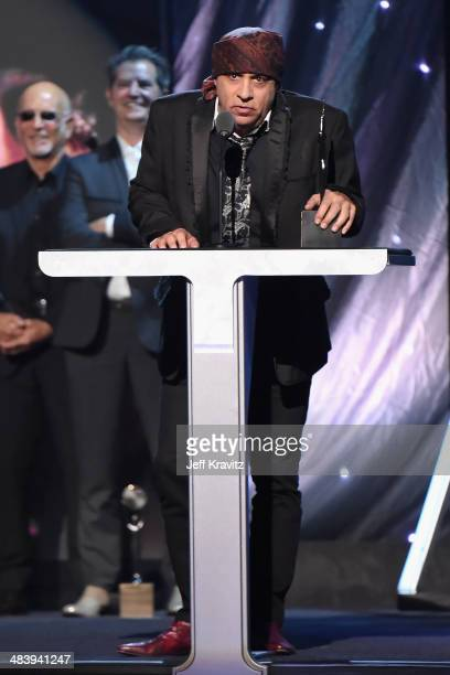 Inductee Steven Van Zandt of the E Street Band speaks onstage at the 29th Annual Rock And Roll Hall Of Fame Induction Ceremony at Barclays Center of...
