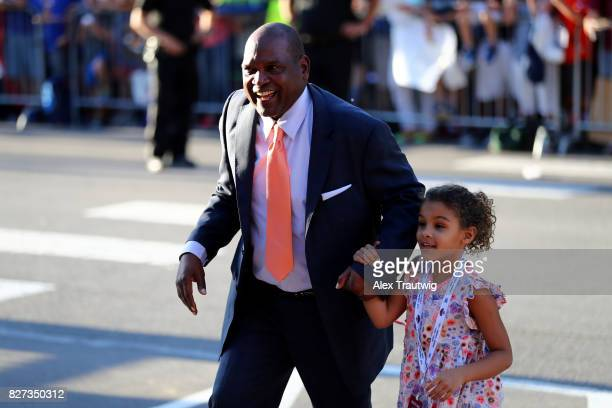 Inductee Tim Raines arrives during the 2017 Hall of Fame Parade of Legends at the National Baseball Hall of Fame on Saturday July 29 2017 in...