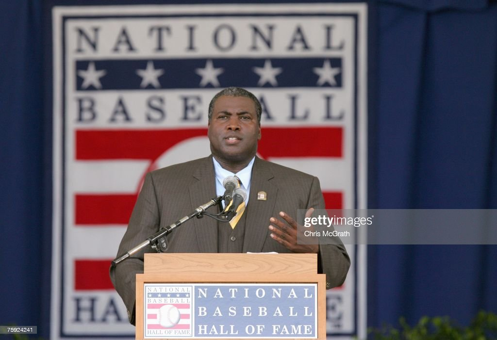 2007 inductee Tony Gwynn gives his acceptance speech at Clark Sports Center during the Baseball Hall of Fame induction ceremony on July 29, 2007 in Cooperstown, New York.