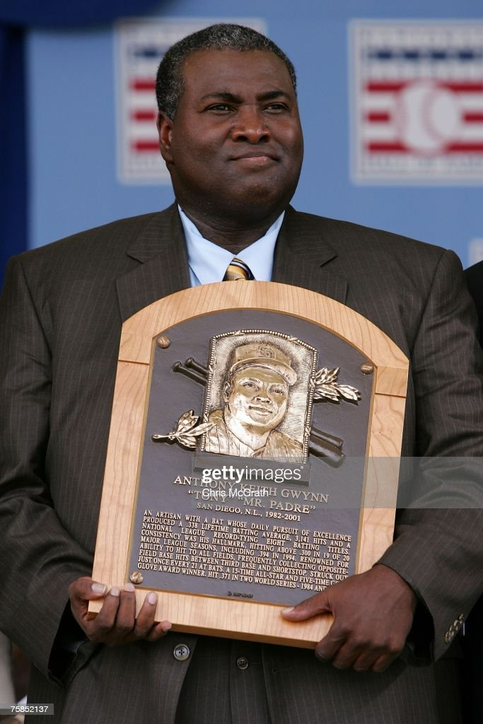 2007 inductee Tony Gwynn poses with his plaque after his speech at Clark Sports Center during the Baseball Hall of Fame induction ceremony on July 29, 2007 in Cooperstown, New York.