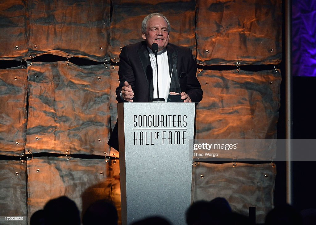 Inductee Tony Hatch speaks at the Songwriters Hall of Fame 44th Annual Induction and Awards Dinner at the New York Marriott Marquis on June 13, 2013 in New York City.