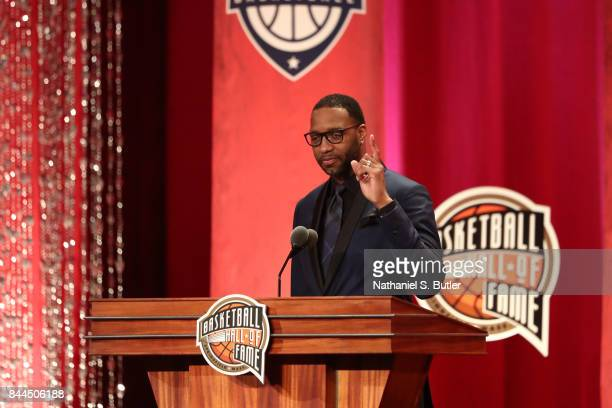Inductee Tracy McGrady speaks to the crowd during the 2017 Basketball Hall of Fame Enshrinement Ceremony on September 8 2017 at the Naismith Memorial...
