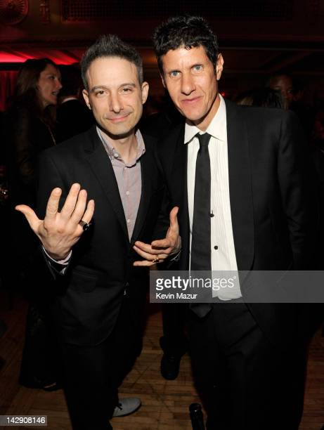 Inductees Adam Horowitz 'AdRock' and Michael Diamond 'Mike D' of the Beastie Boys attend the 27th Annual Rock And Roll Hall Of Fame Induction...