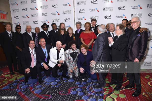 Inductees and Honorees pose backstage at the Songwriters Hall Of Fame 48th Annual Induction and Awards at New York Marriott Marquis Hotel on June 15...