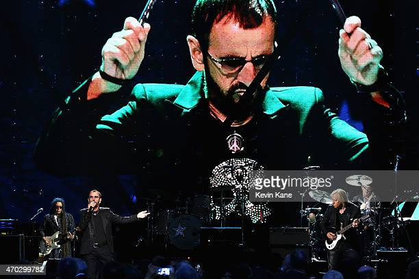 Inductees and musicians perform songs by Ringo Starr onstage during the 30th Annual Rock And Roll Hall Of Fame Induction Ceremony at Public Hall on...