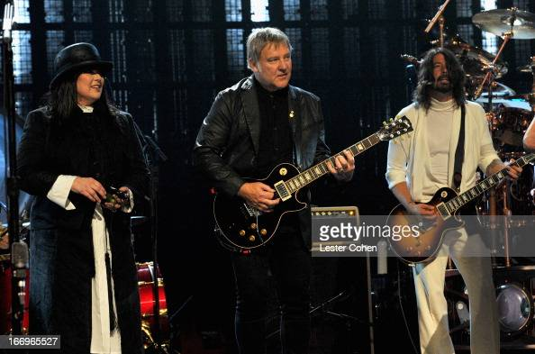 Inductees Ann Wilson of Heart Alex Lifeson of Rush and musician Dave Grohl perform onstage during the 28th Annual Rock and Roll Hall of Fame...