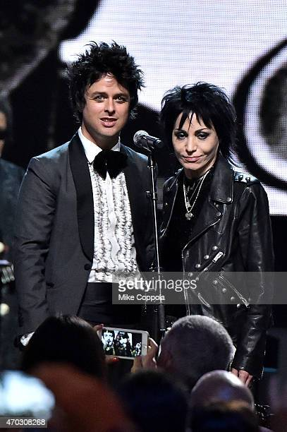Inductees Billie Joe Armstrong and Joan Jett perform onstage during the 30th Annual Rock And Roll Hall Of Fame Induction Ceremony at Public Hall on...