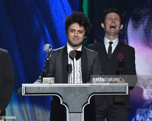 Inductees Billie Joe Armstrong and Mike Dirnt of Green Day speak onstage during the 30th Annual Rock And Roll Hall Of Fame Induction Ceremony at...