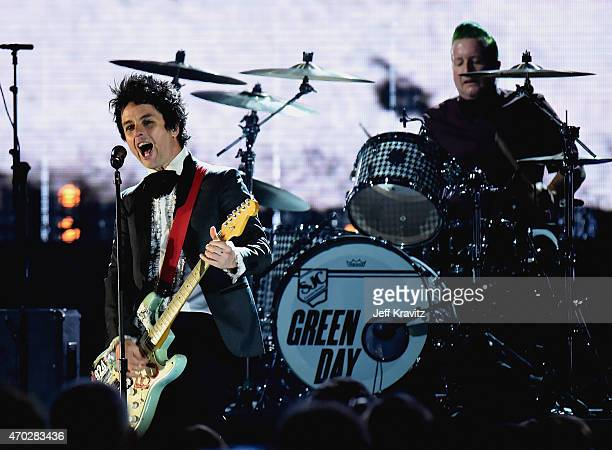 Inductees Billie Joe Armstrong and Tre Cool of Green Day perform onstage during the 30th Annual Rock And Roll Hall Of Fame Induction Ceremony at...