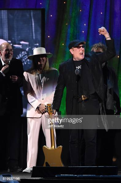 Inductees Bun E Carlos Robin Zander Rick Nielsen and Tom Petersson of Cheap Trick speak on stage at the 31st Annual Rock And Roll Hall Of Fame...