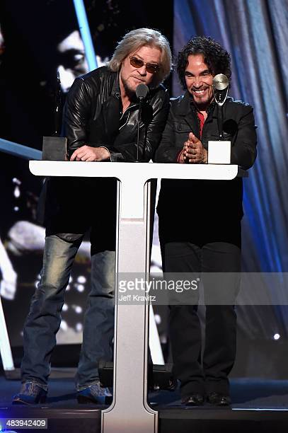 Inductees Daryl Hall and John Oates of Hall and Oates speak onstage at the 29th Annual Rock And Roll Hall Of Fame Induction Ceremony at Barclays...