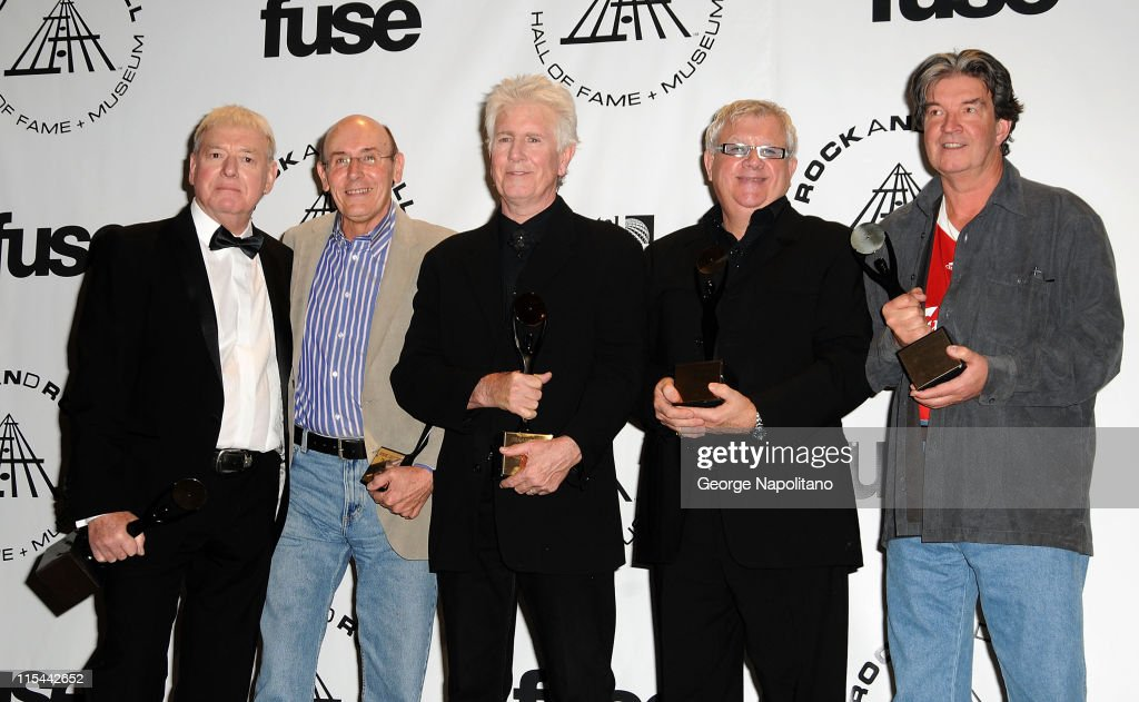 Inductees Eric Haydock, Bernie Calvert, Graham Nash, Allan Clarke and Terry Sylvester of The Hollies attends the 25th Annual Rock And Roll Hall Of Fame Induction Ceremony at the Waldorf=Astoria on March 15, 2010 in New York City.