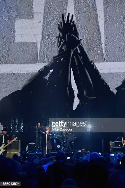 Inductees from Pearl Jam perform onstage at the 32nd Annual Rock Roll Hall Of Fame Induction Ceremony at Barclays Center on April 7 2017 in New York...