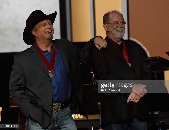 Inductees Garth Brooks and Allen Reynolds attend the Musicians Hall Of Fame 2016 Induction Ceremony Show at Nashville Municipal Auditorium on October...