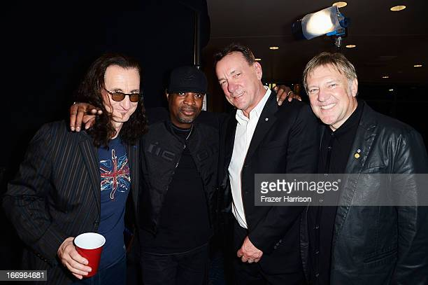 Inductees Geddy Lee Chuck D Neil Peart and Alex Lifeson attend the 28th Annual Rock and Roll Hall of Fame Induction Ceremony at Nokia Theatre LA Live...