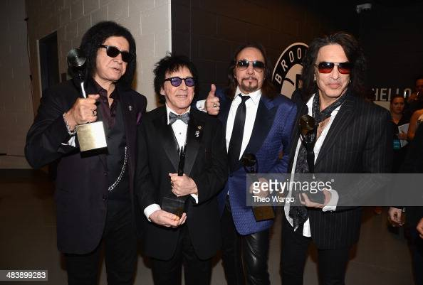 Inductees Gene Simmons Peter Criss Ace Frehley and Paul Stanley of KISS attend the 29th Annual Rock And Roll Hall Of Fame Induction Ceremony at...