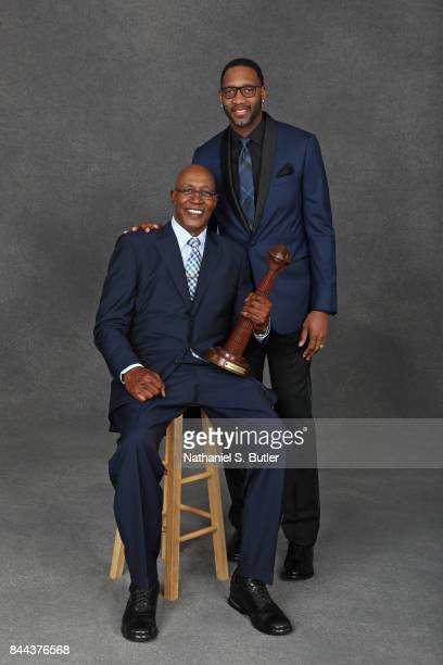 Inductees George McGinnis and Tracy McGrady pose for a portrait prior to the 2017 Basketball Hall of Fame Enshrinement Ceremony on September 8 2017...