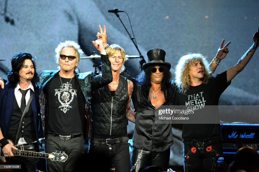 Inductees (L-R) Gilbert Clarke, Matt Sorum, Duff McKagan, Slash and Steven Adler of Guns N' Roses, perform onstage during the 27th Annual Rock And Roll Hall of Fame Induction Ceremony at Public Hall on April 14, 2012 in Cleveland, Ohio.