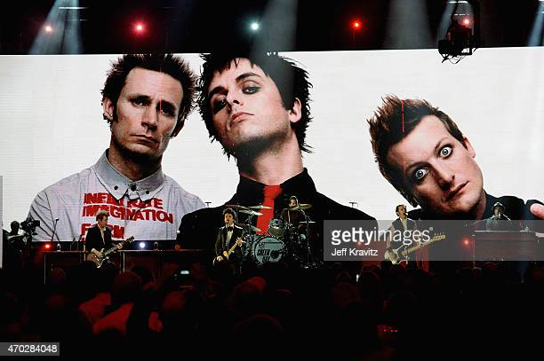 Inductees Green Day perform onstage during the 30th Annual Rock And Roll Hall Of Fame Induction Ceremony at Public Hall on April 18 2015 in Cleveland...