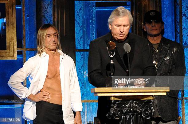 Inductees Iggy Pop James Williamson and Scott Asheton of The Stooges onstage at the 25th Annual Rock and Roll Hall of Fame Induction Ceremony at...