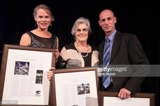 Inductees into the Australian Athletics Hall of Fame Tatiana Grigorieva Marilyn Black and Stephen Moneghetti at the Australian Athletics Gala at...