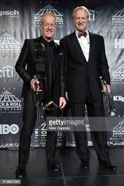 Inductees James Pankow and Lee Loughnane of Chicago pose on stage in the press room at the 31st Annual Rock And Roll Hall Of Fame Induction Ceremony...