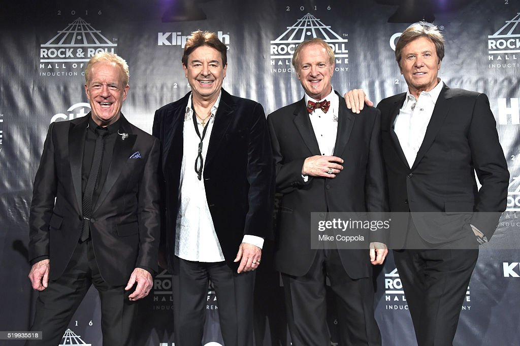 Inductees James Pankow, Walter Parazaider, Lee Loughnane and Robert Lamm of Chicago pose on stage in the press room at the 31st Annual Rock And Roll Hall Of Fame Induction Ceremony at Barclays Center on April 8, 2016 in New York City.