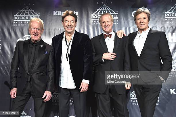 Inductees James Pankow Walter Parazaider Lee Loughnane and Robert Lamm of Chicago pose on stage in the press room at the 31st Annual Rock And Roll...