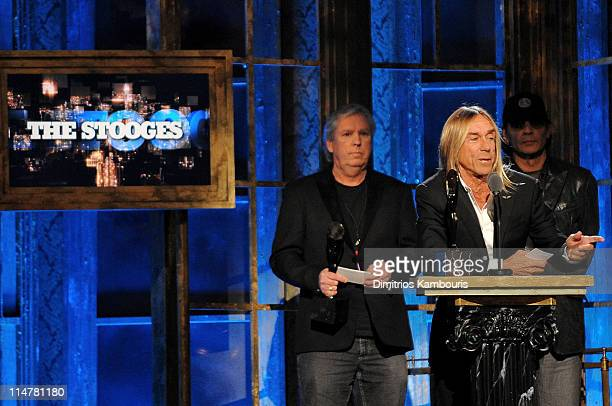 Inductees James Williamson Scott Asheton and Iggy Pop of The Stooges onstage at the 25th Annual Rock and Roll Hall of Fame Induction Ceremony at...
