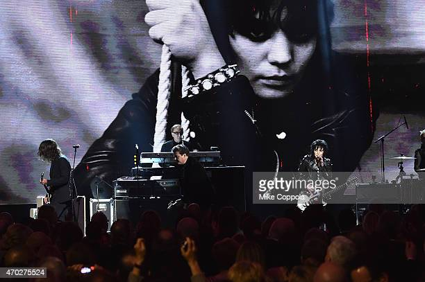 Inductees Joan Jett and the Blackhearts perform with Dave Grohl onstage during the 30th Annual Rock And Roll Hall Of Fame Induction Ceremony at...