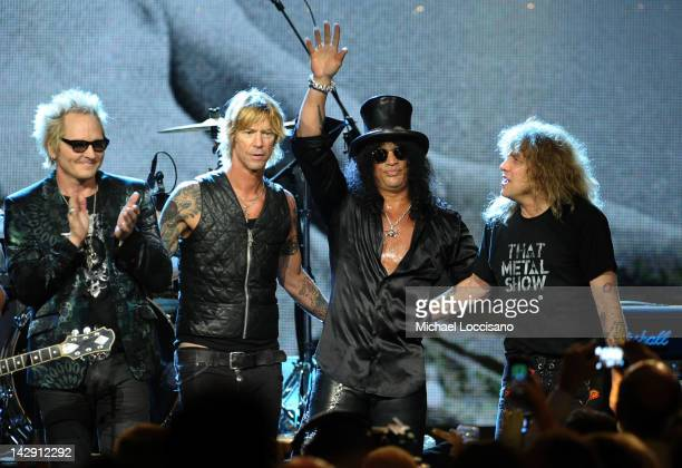 Inductees Matt Sorum Duff McKagan Slash and Steven Adler of Guns N' Roses perform onstage during the 27th Annual Rock And Roll Hall of Fame Induction...