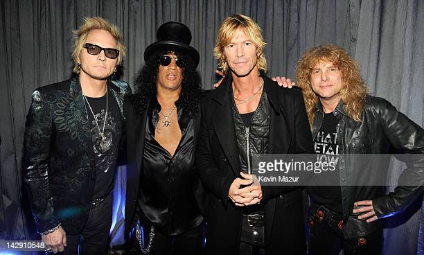 Inductees Matt Sorum Slash Duff McKagan and Steven Adler of Guns N' Roses attend the 27th Annual Rock And Roll Hall Of Fame Induction Ceremony at...