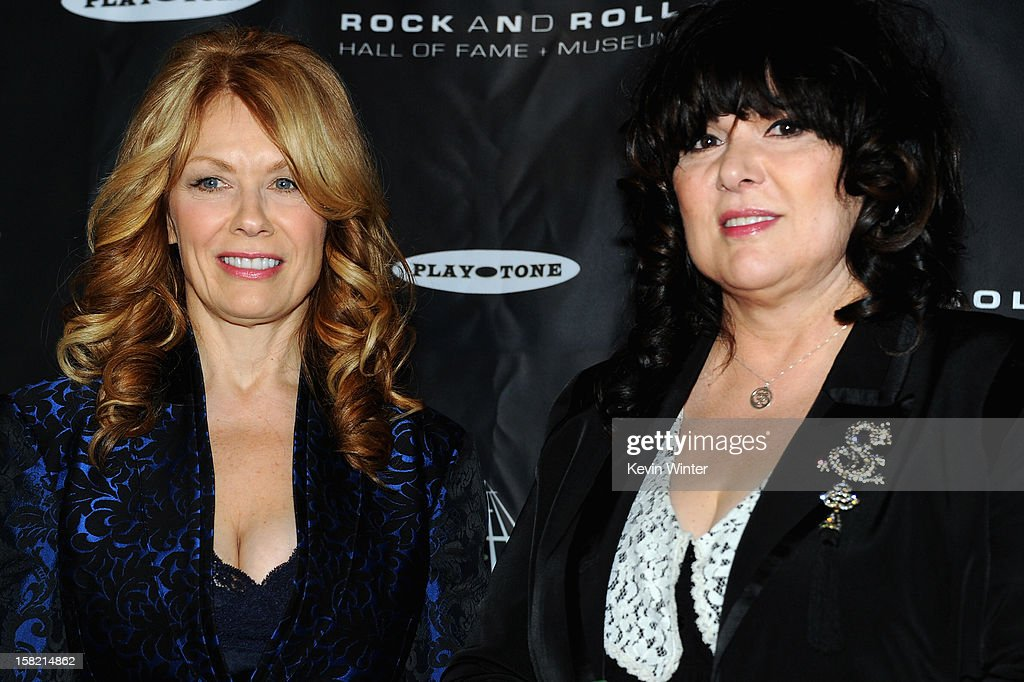 Inductees Nancy Wilson (L) and Ann Wilson (R) of 'Heart' attend the press conference for the Rock and Roll Hall of Fame 2013 Inductees announcement at Nokia Theatre L.A. Live on December 11, 2012 in Los Angeles, California.