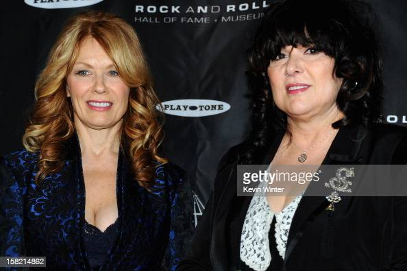 Inductees Nancy Wilson and Ann Wilson of 'Heart' attend the press conference for the Rock and Roll Hall of Fame 2013 Inductees announcement at Nokia...