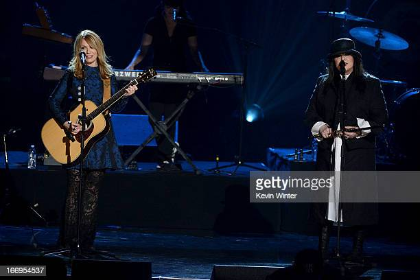 Inductees Nancy Wilson and Ann Wilson of Heart perform on stage at the 28th Annual Rock and Roll Hall of Fame Induction Ceremony at Nokia Theatre LA...