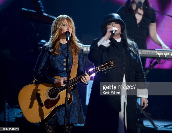 Inductees Nancy Wilson and Ann Wilson of Heart perform onstage at the 28th Annual Rock and Roll Hall of Fame Induction Ceremony at Nokia Theatre LA...